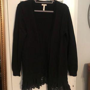 Matilda Jane women's black cardigan L- lace hem